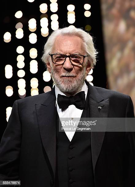 Jury memberDonald Sutherland appears on stage during the closing ceremony of the annual 69th Cannes Film Festival at Palais des Festivals on May 22...