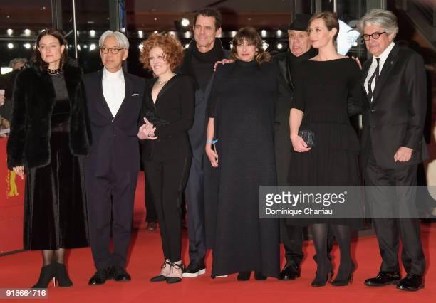 Jury members Adele Romanski Ryuichi Sakamoto Stephanie Zacharek Tom Tykwe with Marie Steinbach Berlinale Festival Director Dieter Kosslick Cecile de...