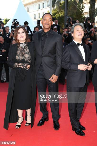 Jury members Agnes Jaou Will Smith and Park ChanWook attend the Closing Ceremony of the 70th annual Cannes Film Festival at Palais des Festivals on...