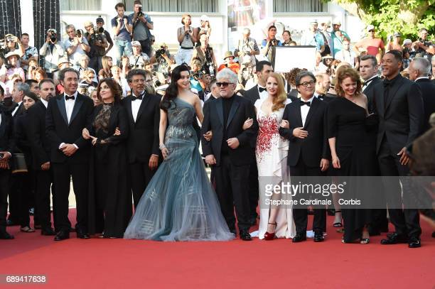 Jury members Agnes Jaoui Gabriel Yared Fan Bingbing jury president Pedro Almodovar and jury members Jessica Chastain Park Chanwook Maren Ade and Will...