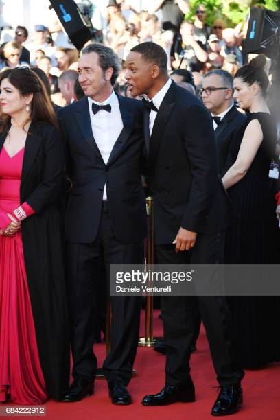 Jury members Agnes Jaoui Paolo Sorrentino and Will Smith attend the 'Ismael's Ghosts ' screening and Opening Gala during the 70th annual Cannes Film...