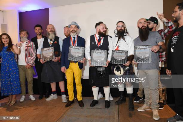 3 Jury members and Less Than 20 cm Beard winner Vincent Tacquenir Best in Show Beard winner Denis Pierre Cariou Verdi Beard awarded Yoann Caton...