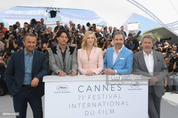 Jury members Andrey Zvyagintsev Chang Chen jury president Cate Blanchett and jury members Denis Villeneuve and Robert Guediguian attend the Jury...