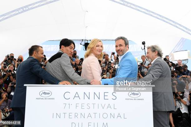 Jury members Andrey Zvyagintsev Chang Chen Jury president Cate Blanchett Denis Villeneuve and Robert Guediguian attend the Jury photocall during the...