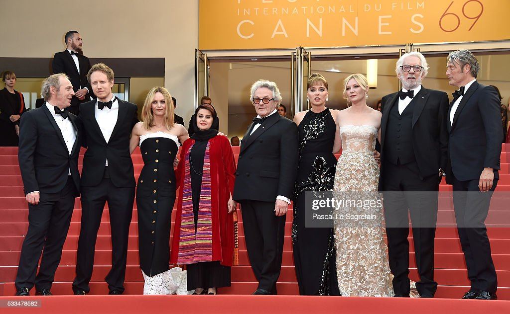 Jury members Arnaud Desplechin, Laszlo Nemes, Vanessa Paradis, Katayoon Shahabi, Valeria Golino, George Miller, Kirsten Dunst, Donald Sutherland and Mads Mikkelsen attend the closing ceremony of the 69th annual Cannes Film Festival at the Palais des Festivals on May 22, 2016 in Cannes, France.