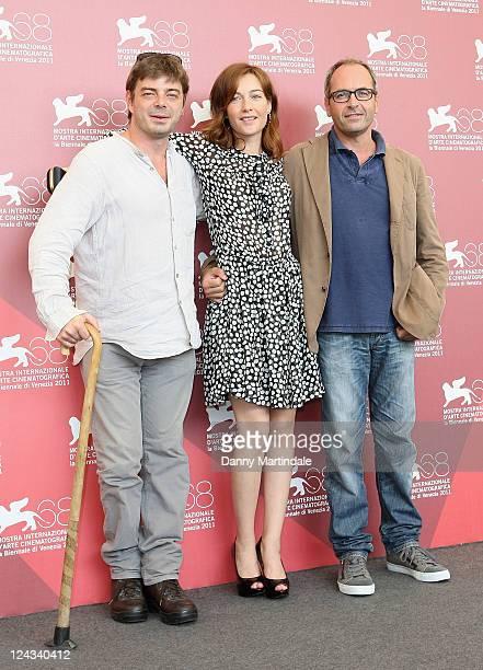 Jury members Aureliano Amade Cristiana Capotondi and and Stefano Incerti attends the Controcampo Italiano Winners Photocall at Palazzo del Casino on...