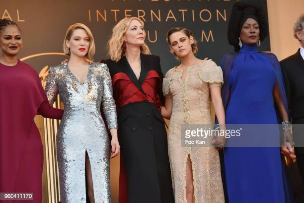 Jury members Ava DuVernay Lea Seydoux Jury president Cate Blanchett Jury members Kristen Stewart and Khadja Nin attend the Closing Ceremony screening...