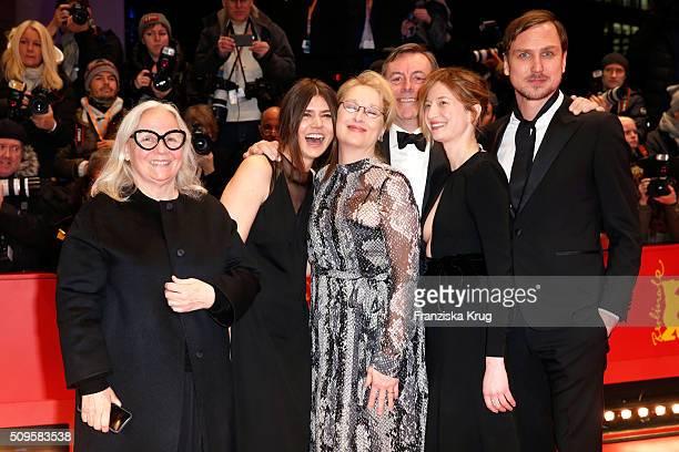 Jury members Brigitte Lacombe Malgorzata Szumowska Meryl Streep wearing Prada Nick James Alba Rohrwacher and Lars Eidinger attend the 'Hail Caesar'...