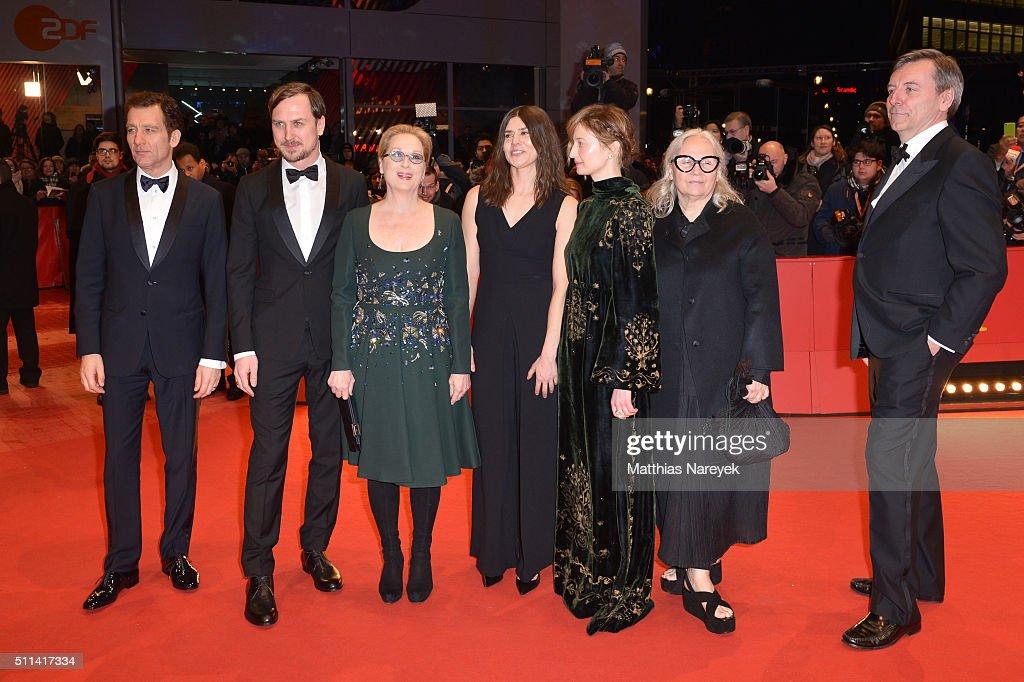 Jury members Clive Owen, Lars Eidinger, Meryl Streep, Malgorzata Szumowska, Alba Rohrwacher, Brigitte Lacombe and Nick James attend the closing ceremony of the 66th Berlinale International Film Festival on February 20, 2016 in Berlin, Germany.