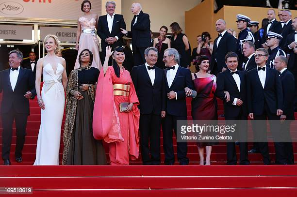 Jury members Daniel Auteuil Nicole Kidman Vidya Balan Naomi Kawase Ang Lee jury president Steven Spielberg and jury members Lynne Ramsay Cristian...