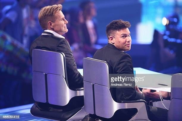 Jury members Dieter Bohlen and Kay One smile during the final of the 'Deutschland sucht den Superstar' show at Coloneum on May 3 2014 in Cologne...