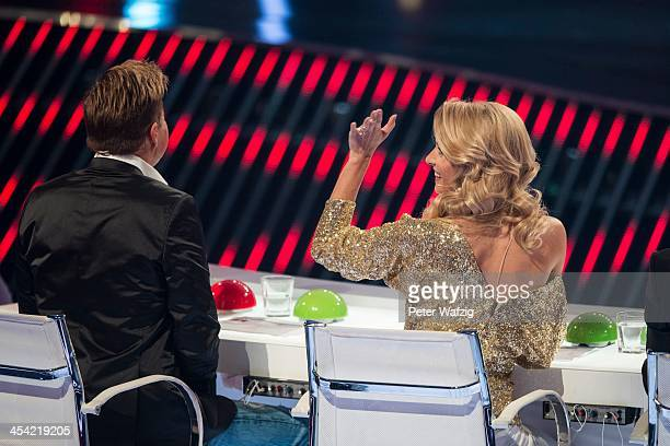 Jury members Dieter Bohlen and Lena Gercke during the second Semifinal of 'Das Supertalent' TV Show on December 07 2013 in Cologne Germany