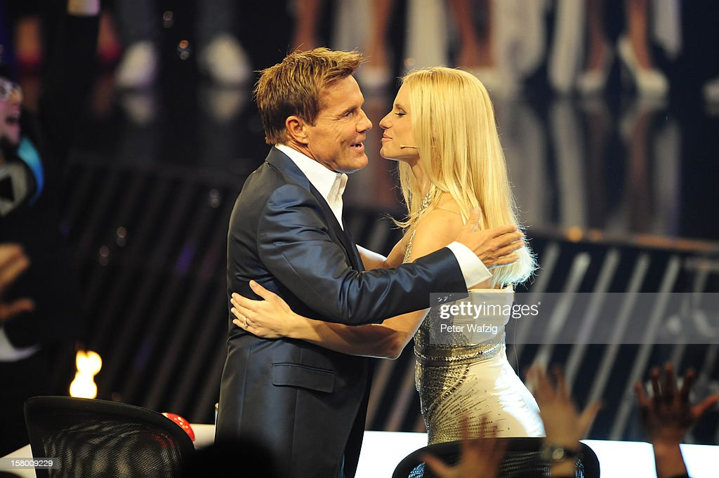 Jury members Dieter Bohlen and Michelle Hunziker at the 'Das Supertalent' Semi Finals on December 08, 2012 in Cologne, Germany.