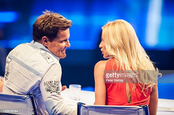 Jury members Dieter Bohlen and Michelle Hunziker talk during DSDS Kids 1st Show at Coloneum on May 05 2012 in Cologne Germany