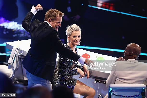 Jury members Dieter Bohlen Inka Bause and Bruce Darnell gesture during the 'Das Supertalent' final show on December 12 2015 in Cologne Germany