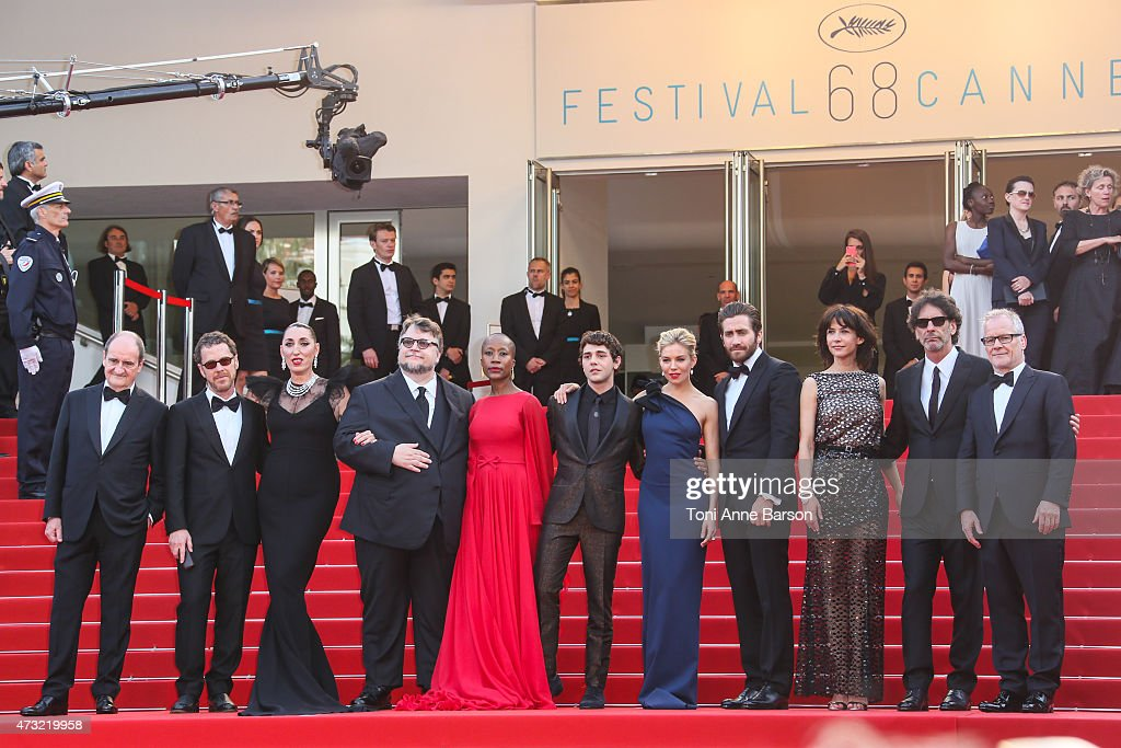 Jury members Ethan Coen, Sophie Marceau, Rossy de Palma, Guillermo del Toro, Rokia Traore, Xavier Dolan, Sienna Miller, Jake Gyllenhaal and Joel Coen attend the opening ceremony and 'La Tete Haute' ('Standing Tall') premiere during the 68th annual Cannes Film Festival on May 13, 2015 in Cannes, France.