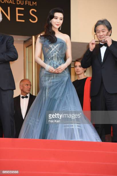 Jury members Fan Bingbing ans Park Chanwook attend the Closing Ceremony during the 70th annual Cannes Film Festival at Palais des Festivals on May 28...