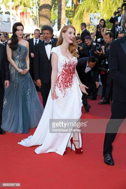 Jury members Fan Bingbing Paolo Sorrentino and Jessica Chastain attend the Closing Ceremony during the 70th annual Cannes Film Festival at Palais des...