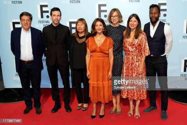 Jury members Francois Tron Alex Beaupain Isabelle Czakja Valerie Karsenti Elodie Frenck Marie Roussin and Sydney Gallonde attend the 21th Festival of...