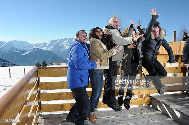 Jury members François Xavier Demaison Geraldine Nakache Jan Kunen Lea Drucker and Michael Youn attend the 14th Film Festival Of L'Alpe D'Huez on...