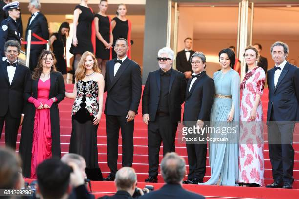 Jury members Gabriel Yared Agnes Jaoui Jessica Chastain and Will Smith President of the jury Pedro Almodovar and jury members Park Chanwook Fan...