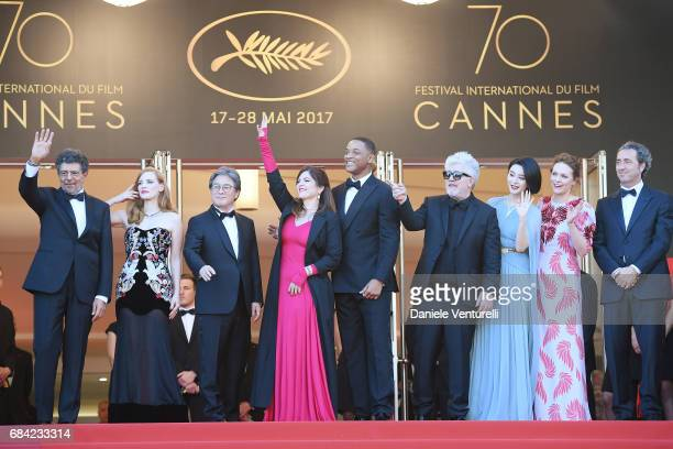 Jury members Gabriel Yared Jessica Chastain Park Chanwook Agnes Jaoui and Will Smith President of the jury Pedro Almodovar and jury members Fan...