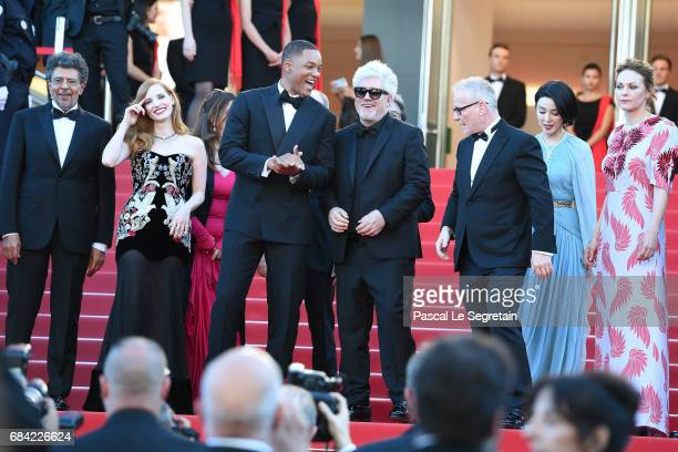 Jury members Gabriel Yared Jessica Chastain Will Smith President of the jury Pedro Almodovar Director of the Cannes Film Festival Thierry Fremaux Fan...