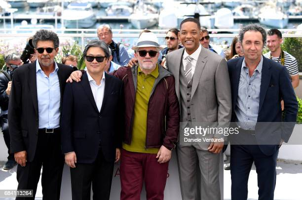 Jury members Gabriel Yared Park Chanwook President of the jury Pedro Almodovar jury members Will Smith and Paolo Sorrentino attend the Jury photocall...