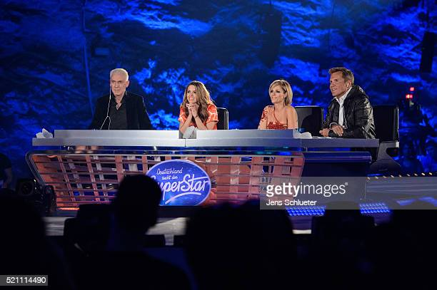 Jury members H.P. Baxxter , Vanessa Mai, Michelle and Dieter Bohlen are seen during the first event show of the tv competition 'Deutschland sucht den...