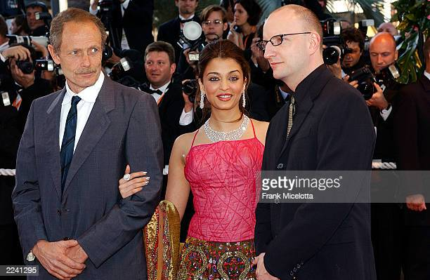 Jury members Italian writer Erri de Luca actress Aishwarya Rai and director Steven Soderbergh attend the opening ceremony of the 56th International...