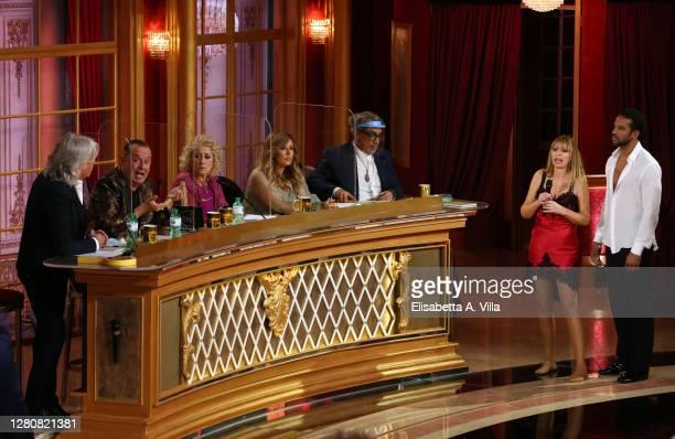 Jury members Ivan Zazzaroni, Fabio Canino, Carolyn Smith, Selvaggia Lucarelli and Guillermo Mariotto, Italian politician Alessandra Mussolini and her...