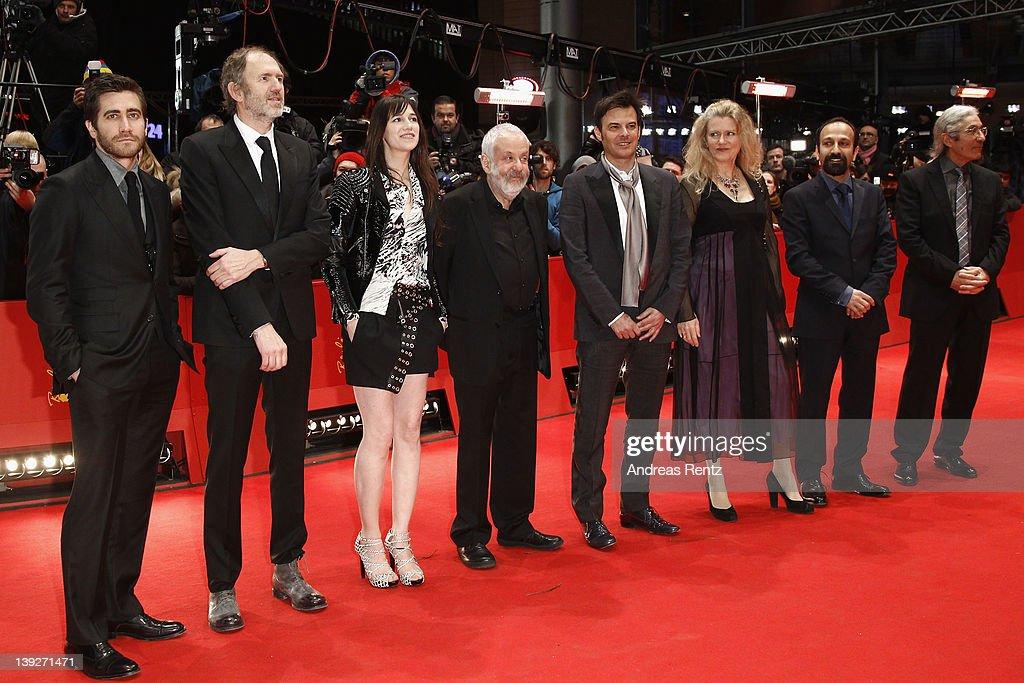 Jury members Jake Gyllenhaal, Anton Corbijn, Charlotte Gainsbourg, Mike Leigh, Francois Ozon, Barbara Sukowa, Asghar Farhadi and Boualem Sansal attend the Closing Ceremony during day ten of the 62nd Berlin International Film Festival at the Berlinale Palast on February 18, 2012 in Berlin, Germany.