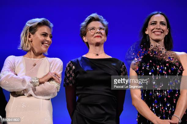 Jury members Jasmine Trinca Annette Bening and Rebecca Hall attend the'Downsizing' screening and Opening Ceremony during the 74th Venice Film...