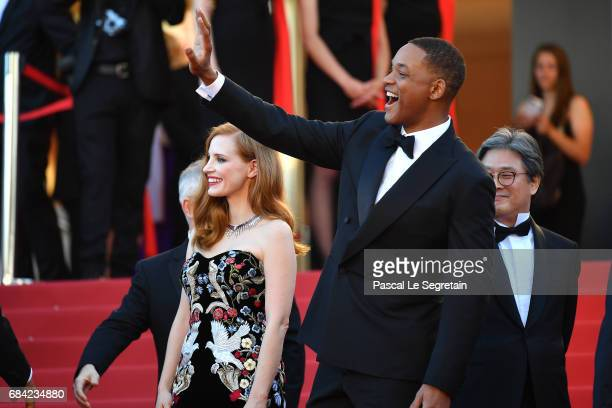 Jury members Jessica Chastain and Will Smith attends the 'Ismael's Ghosts ' screening and Opening Gala during the 70th annual Cannes Film Festival at...