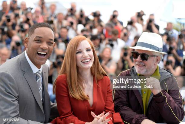 Jury members Jessica Chastain, Will Smith and President of the jury Pedro Almodovar attend the Jury photocall during the 70th annual Cannes Film...