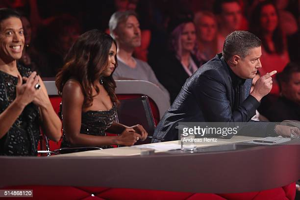 Jury members Jorge Gonzalez, Motsi Mabuse and Joachim Llambi are seen on stage during the 1st show of the television competition 'Let's Dance' on...