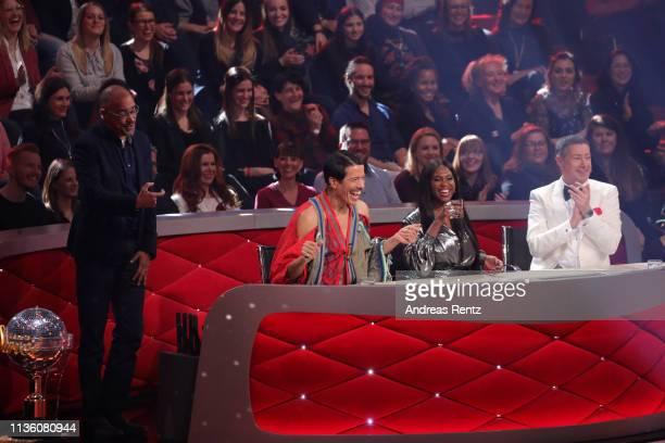 Jury members Jorge Gonzalez Motsi Mabuse and Joachim Llambi react during the preshow 'Wer tanzt mit wem Die grosse Kennenlernshow' of the television...