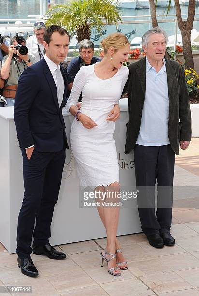 Jury members Jude Law, Uma Thurman and President of the Jury Robert De Niro attends the Jury Photocall at the Palais des Festivals during the 64th...