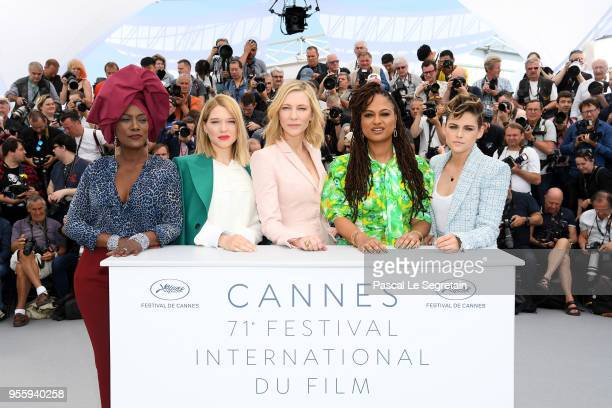 Jury members Khadja Nin Lea Seydoux Jury head Cate Blanchett Ava DuVernay and Kristen Stewart attend the Jury photocall during the 71st annual Cannes...
