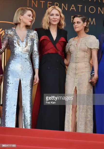Jury members Lea Seydoux Jury president Cate Blanchett and Kristen Stewart attend the Closing Ceremony screening of 'The Man Who Killed Don Quixote'...