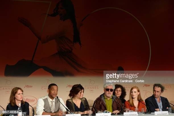 Jury members Maren Ade Will Smith Agnes Jaoui President of the jury Pedro Almodovar and jury members Jessica Chastain and Paolo Sorrentino attend the...