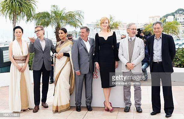 Jury members Naomi Kawase Christoph Waltz Vidya Balan Daniel Auteuil Nicole Kidman jury president Steven Spielberg and jury member Ang Lee attend the...