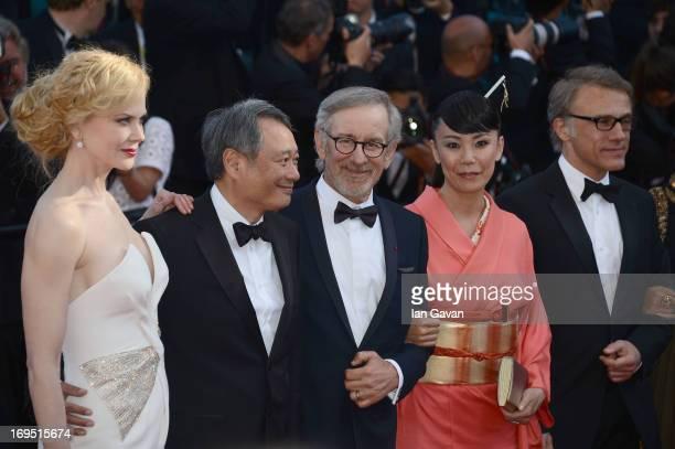 Jury members Nicole Kidman Ang Lee President of the Feature Film Jury Steven Spielberg jury members Naomi Kawase and Christoph Waltz attend the...