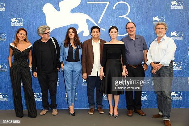 Jury members of 'ORIZZONTI' Nelly Karim, Jose Maria Chema Prado, Valentina Lodovini, Chaitanya Tamhane, Moon So-ri, Jim Hoberman and president of the...