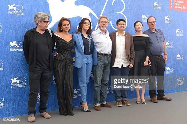 Jury members of 'VENEZIA 73' Jose Maria Chema Prado, Nelly Karim, Valentina Lodovini, president of the jury Robert Guediguian, Chaitanya Tamhane ,...