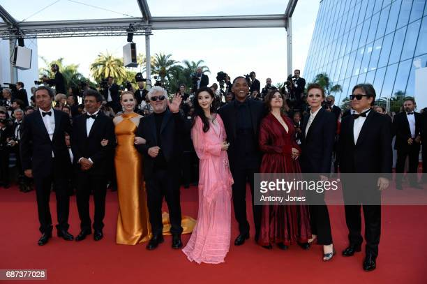 Jury members Paolo Sorrentino, Gabriel Yared and Jessica Chastain, President of the jury Pedro Almodovar and jury members Fan Bingbing, Will Smith,...