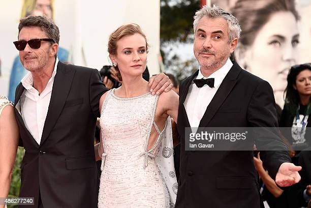 Jury members Pawel Pawlikowski Diane Kruger and jury president Alfonso Cuaron attend the opening ceremony and premiere of 'Everest' during the 72nd...