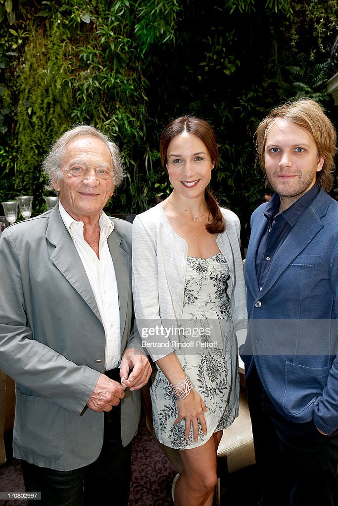 Jury members Philippe Tesson, Elsa Zylberstein and Florient Zeller attend the Jury of the Price of the Cultural Personality of the year portrait session at Hotel Pershing Hall on June 18, 2013 in Paris, France.