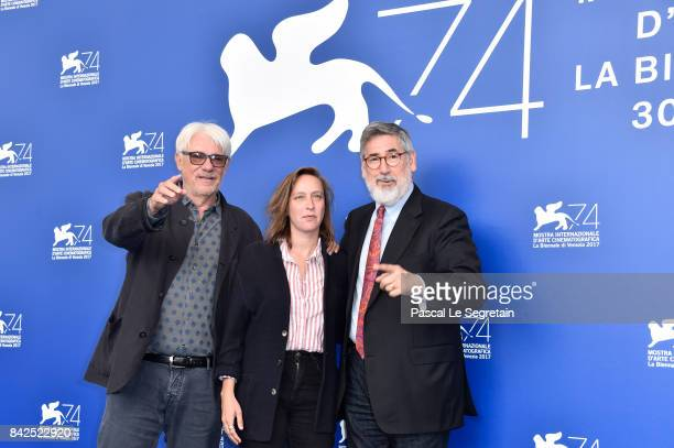 Jury members Ricky Tognazzi Celine Sciamma and jury president John Landis attend the 'Jury Virtual Reality' photocall during the 74th Venice Film...