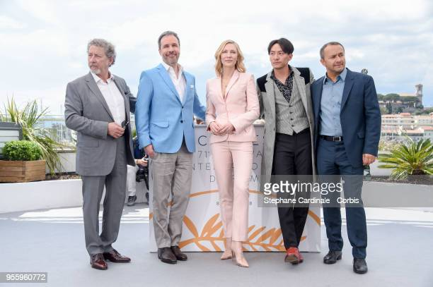 Jury members Robert Guediguian Denis Villeneuve jury president Cate Blanchett and jury members Chang Chen and Andrey Zvyagintsev attend the Jury...